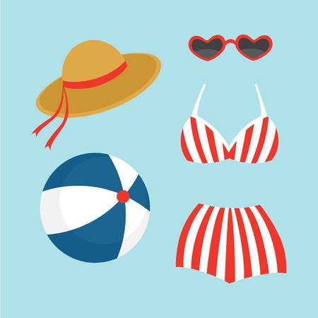 summer beach element. flat design