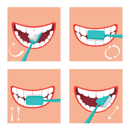 How to brush your teeth Vectores