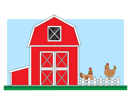 chicken coop with chickens Illustration