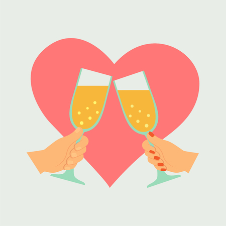 Female and male hands holding and clinking with two glasses champagne  イラスト・ベクター素材