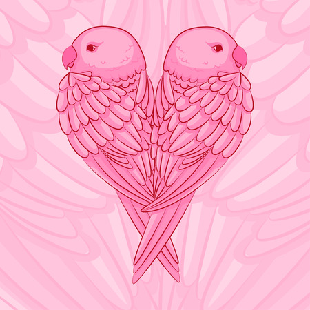 parrots in the shape of a heart
