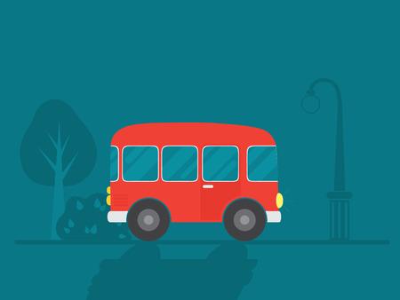 Red bus vector illustration.