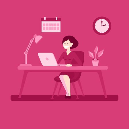Businesswoman sitting at the desk working with computer.  イラスト・ベクター素材