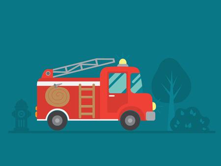 red fire truck vector illustration  イラスト・ベクター素材