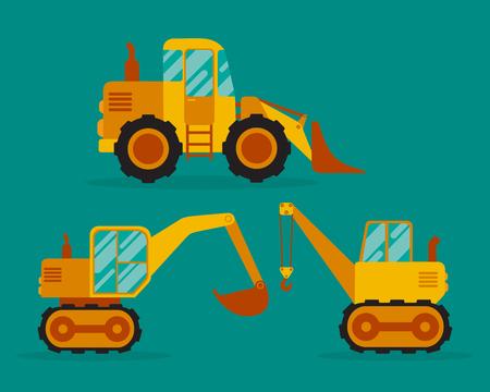 Grader, excavator and crane. Flat vector illustration