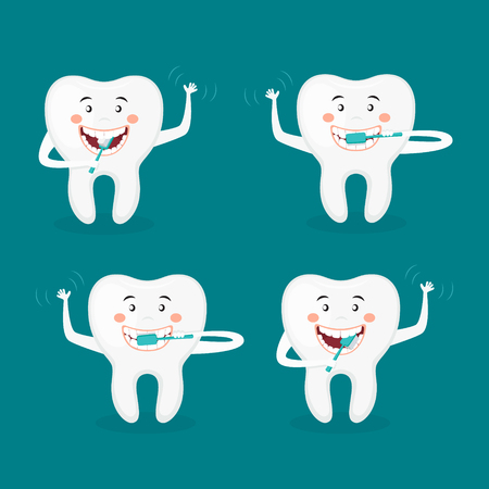 Vector illustration of a Happy tooth brushing his teeth Illustration