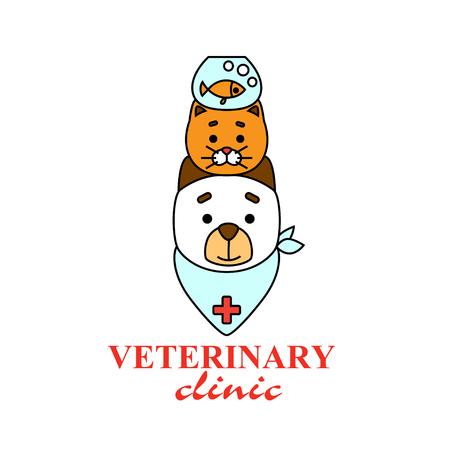 獣医クリニックのロゴ。犬、猫、魚と水族館。 写真素材 - 95247268
