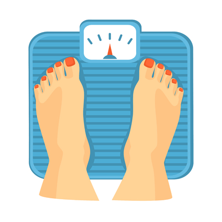 Womans feet on weighing scale vector illustration