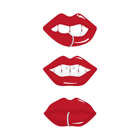 Set of red lips with piercings.
