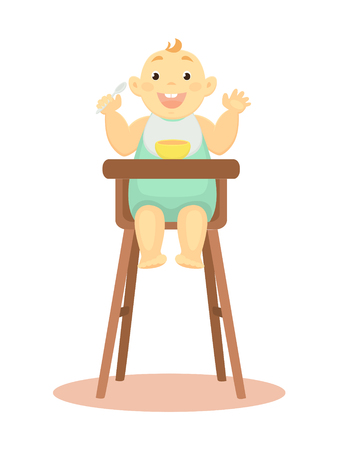 Vector illustration of a happy kid sitting on the highchair.  イラスト・ベクター素材