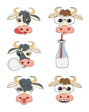 Cow head portrait, set of vector symbols illustration.