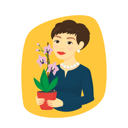 A woman holds a pot with a flower. Vector illustration.