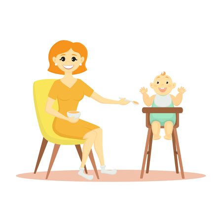 Vector illustration mom feeds a baby in a highchair.