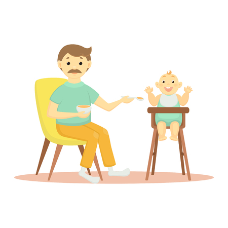 Vector illustration father feeding a child in a highchair.