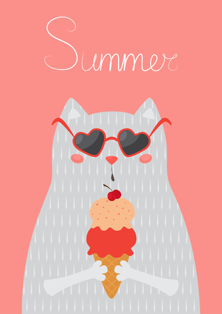 Vector illustration of a cat with sunglasses eats ice cream.