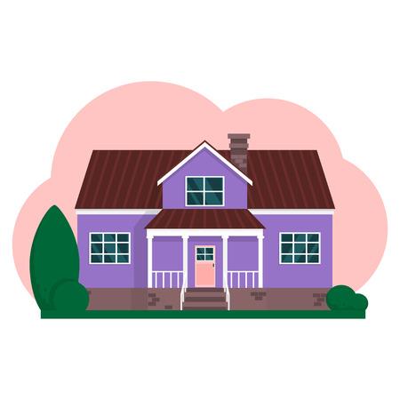 Vector flat suburban american house. Family house.