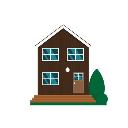 ベクトルフラット郊外の家。白い背景に隔離された家族の家。 写真素材 - 101187780
