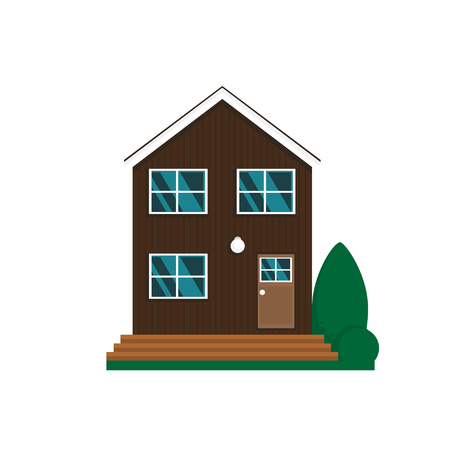 Vector flat suburban house. Family house isolated on white background.  イラスト・ベクター素材