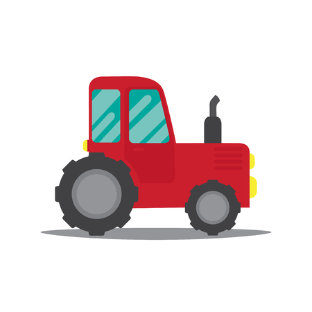 Vector illustration of a tractor. Flat design.