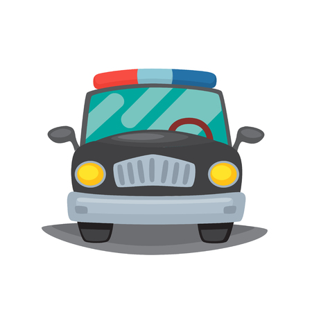 Vector illustration of a police car on a white background.  イラスト・ベクター素材