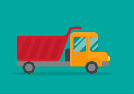 Vector flat illustration of a truck with a red body.