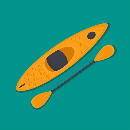 Vector flat illustration of a kayak and paddle.