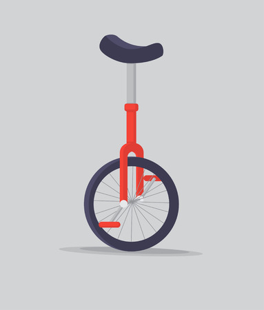 Vector illustration unicycle or one wheel bicycle.