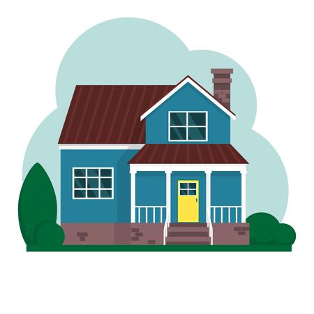 ベクトルフラット郊外アメリカの家。ファミリーハウス。 写真素材 - 101187871