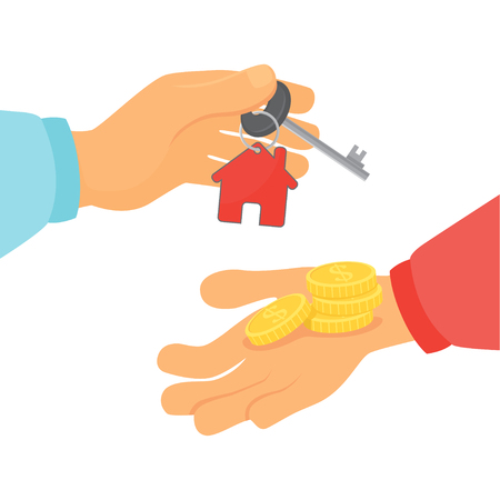 Hands with money and with keys.Vector illustration.
