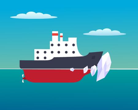 Vector illustration of an icebreaker in the ocean Иллюстрация