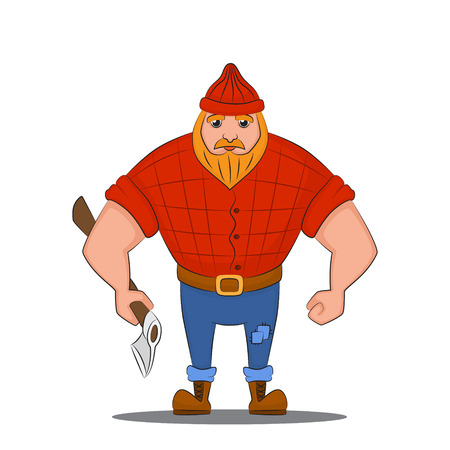 Vector illustration of a Lumberjack  with an axe  イラスト・ベクター素材