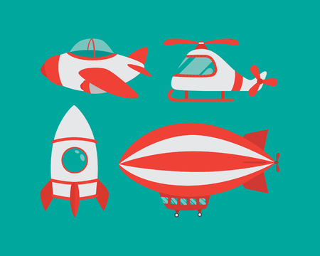 Vector set of airplane, helicopter, airship, rocket
