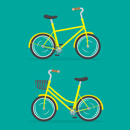 Vector illustration of woman's bake and man's bike