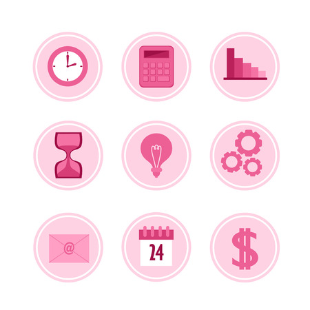 Set of business icons. Vector flat illustration.