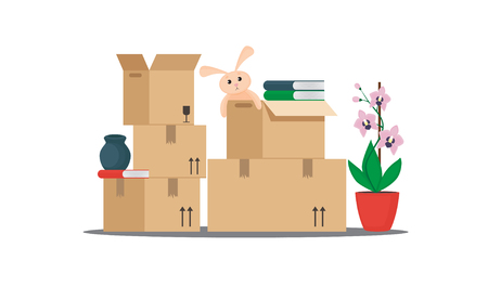 Moving with boxes to new home. Vector illustration.