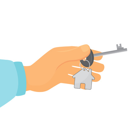 Vector illustration hand holds key from house