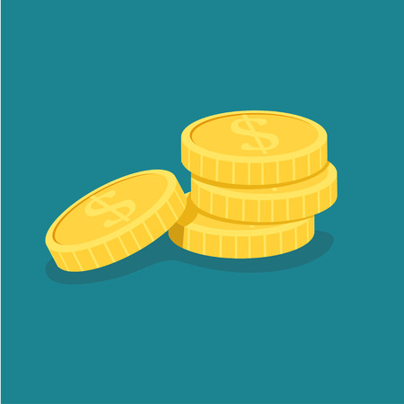 Vector illustration of a gold stack of dollar coins  イラスト・ベクター素材