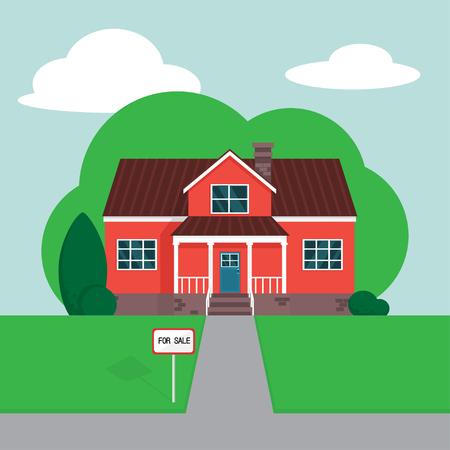 Vector illustration of a house for sale