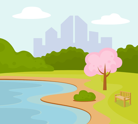 Vector illustration of City park bench under  tree near the pond  イラスト・ベクター素材