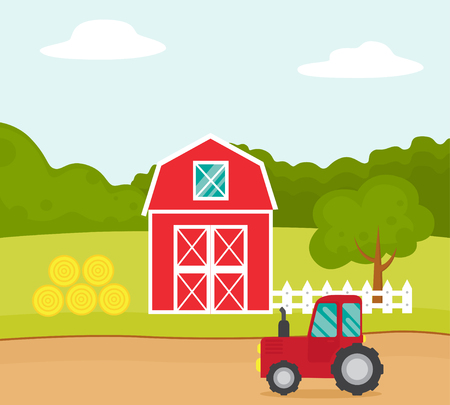 Vector flat illustration of a farm with a red tractor