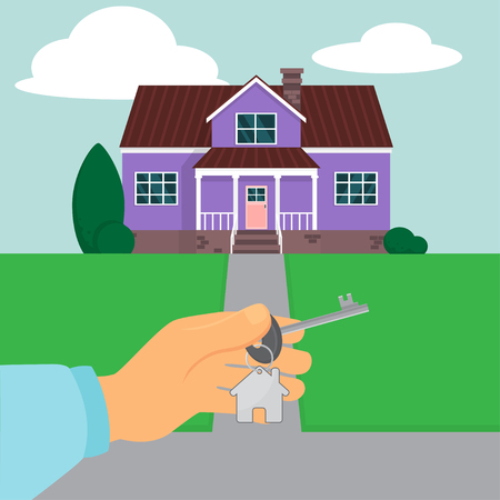 Vector illustration of a hand holding a home key on a cottage background