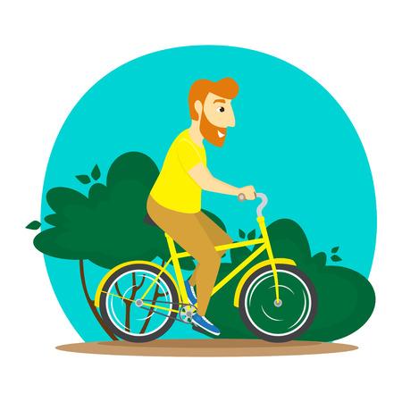 A man rides a bike. Vector illustration.