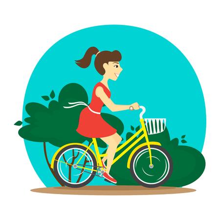 A woman rides a bike. Vector illustration.