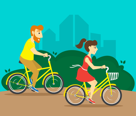 A man and a woman ride bicycles in a city park. Vector illustration.  イラスト・ベクター素材