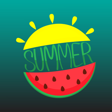 Hand drawn lettering composition Summer with sun and watermelon. Vector illustration.