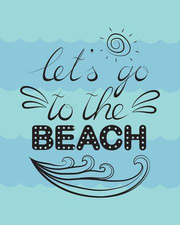 ビーチに行くことができます, ベクトルレタリング 写真素材 - 102867522