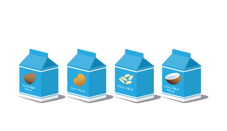 Packages with coconut, rice, soy, almond milk. Vector illustration.  イラスト・ベクター素材