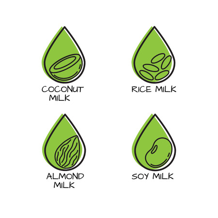 Vector set of packaging design elements and icons in linear style - almond, coconut, rice and soy milk.