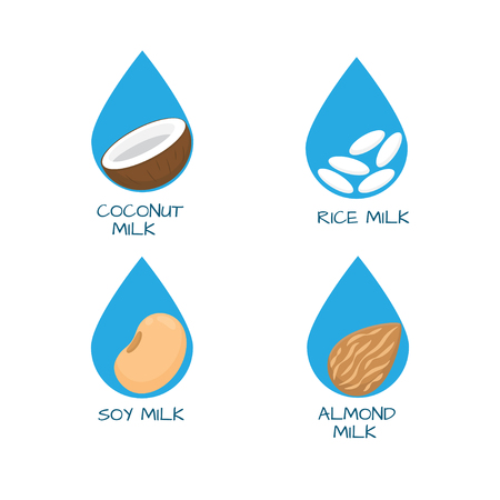 Vector set of packaging design elements and icons - almond, coconut, rice and soy milk.