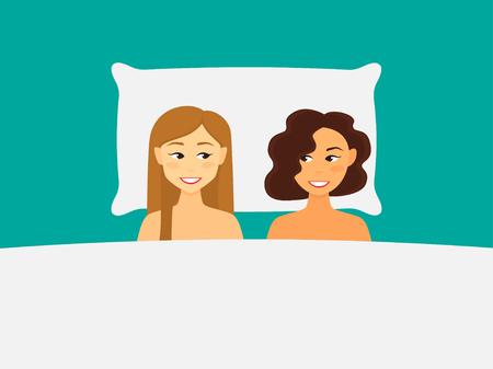 ベッドで幸せなレズビアンのカップルのイラスト。 写真素材 - 104438922